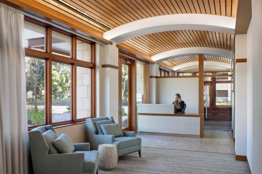 Reception with vaulted wood ceiling